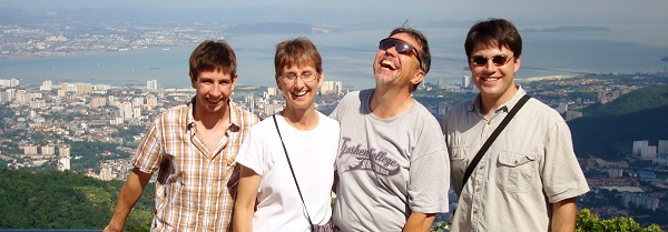Jacob, Joetta, Gerald and Gabriel, on Penang Hill in Malaysia. Valerie is actually in the picture, down in Penang, getting ready for her wedding to Gabe a few days later.